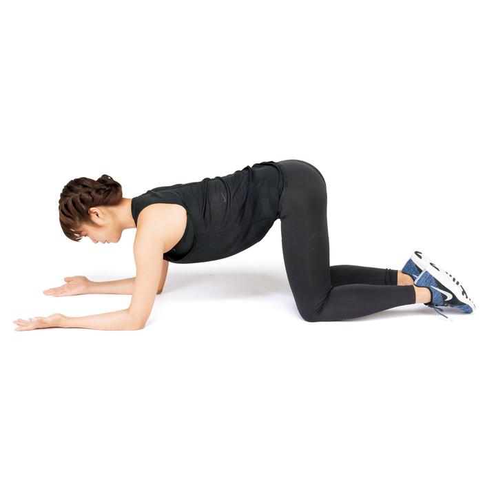 四つん這いになり、肩の真下で肘をつく。前腕を床につけ、手のひらを上に向ける。