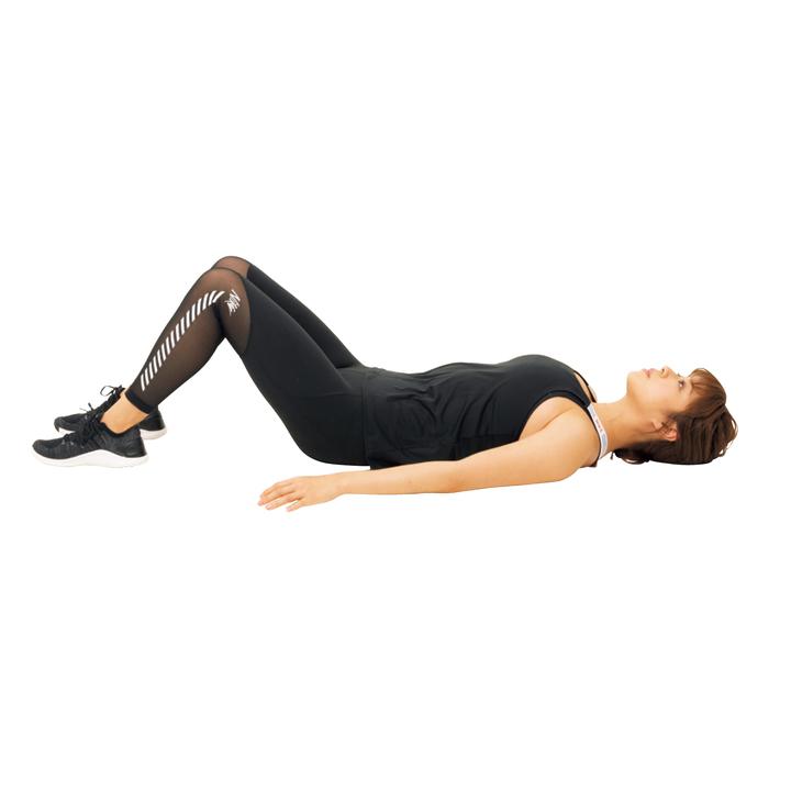 仰向け姿勢で両膝を立て、足裏を床につける。