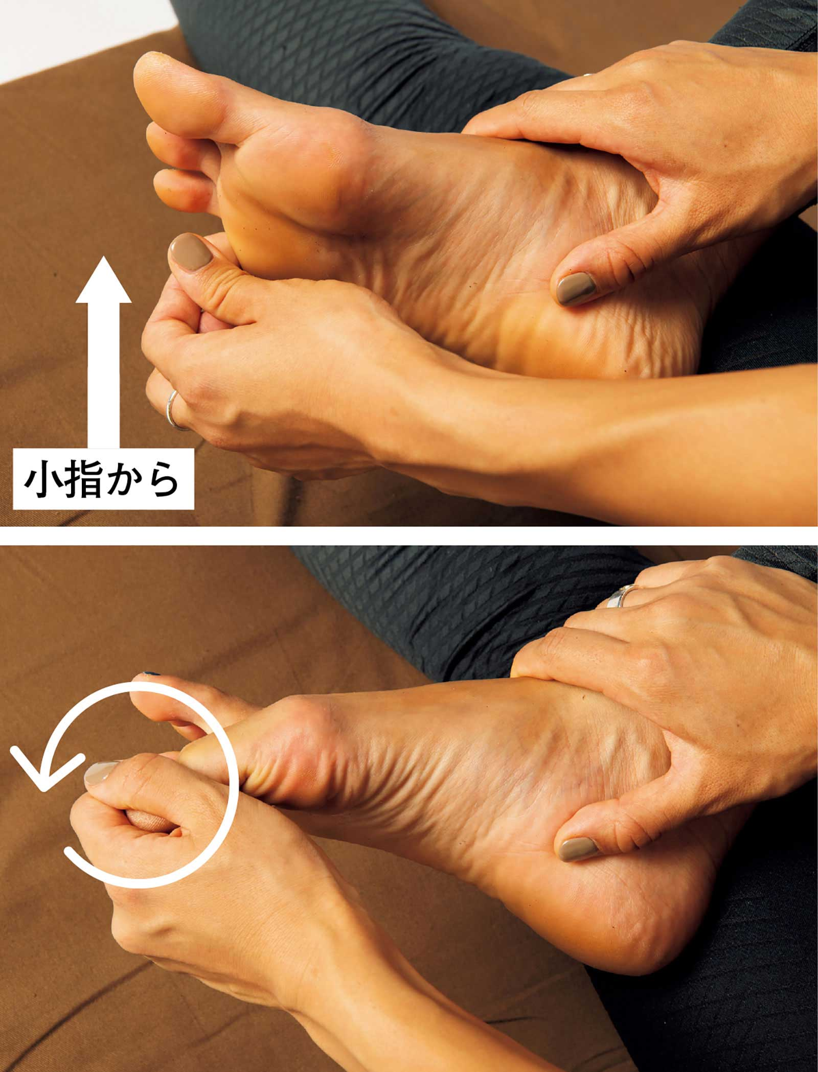 座禅のやり方。足指を回す