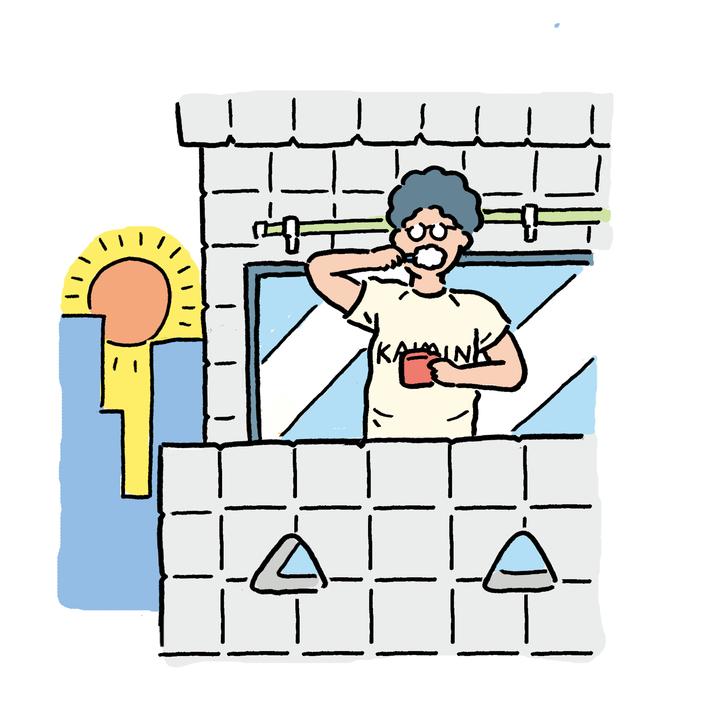 ベランダで朝日を浴びながら歯を磨く余裕を持つ。