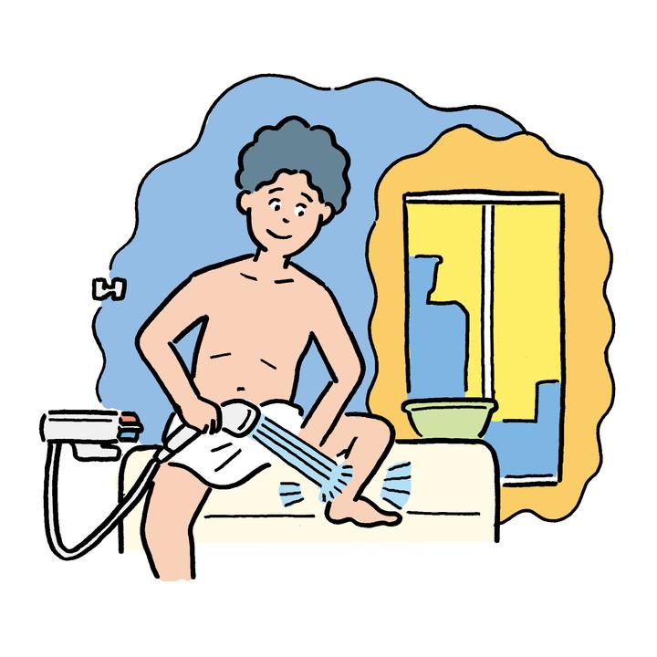 暗いバスルームで足首に10秒ずつお湯を当てる。