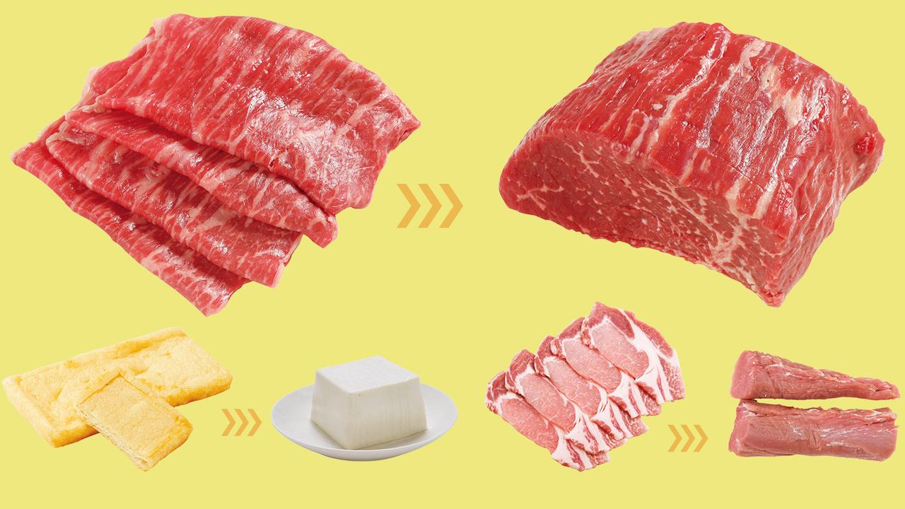 """食材選びで脂質は大幅にカットできる。たとえば100gあたり、和牛サーロインを牛ももに変えると脂質は42.9gカット。豚バラを豚ヒレに変えたり、鶏もも肉も皮アリから皮ナシに、トロから赤身、油揚げから絹ごし豆腐に変えるなど、さまざまなアレンジが考えられる(画像は「<a href=""""/post-181357"""" target=""""_blank"""">選び方でこんなに変わる! 高タンパクで低脂質な食材を追求せよ</a>」より)。"""