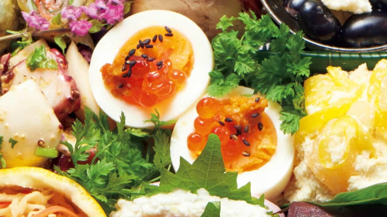 半熟卵の珍味のせ