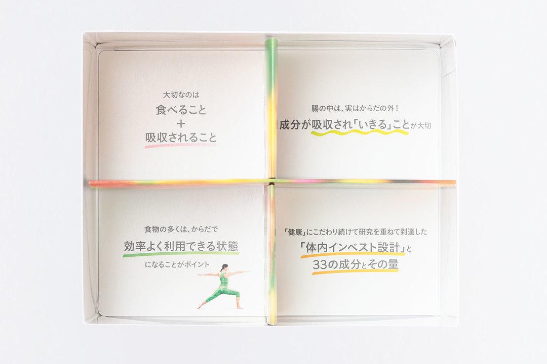 箱は4つに仕切られており、毎日2パックずつ1週間摂ると、パッケージの底に栄養、健康に関するメッセージが!