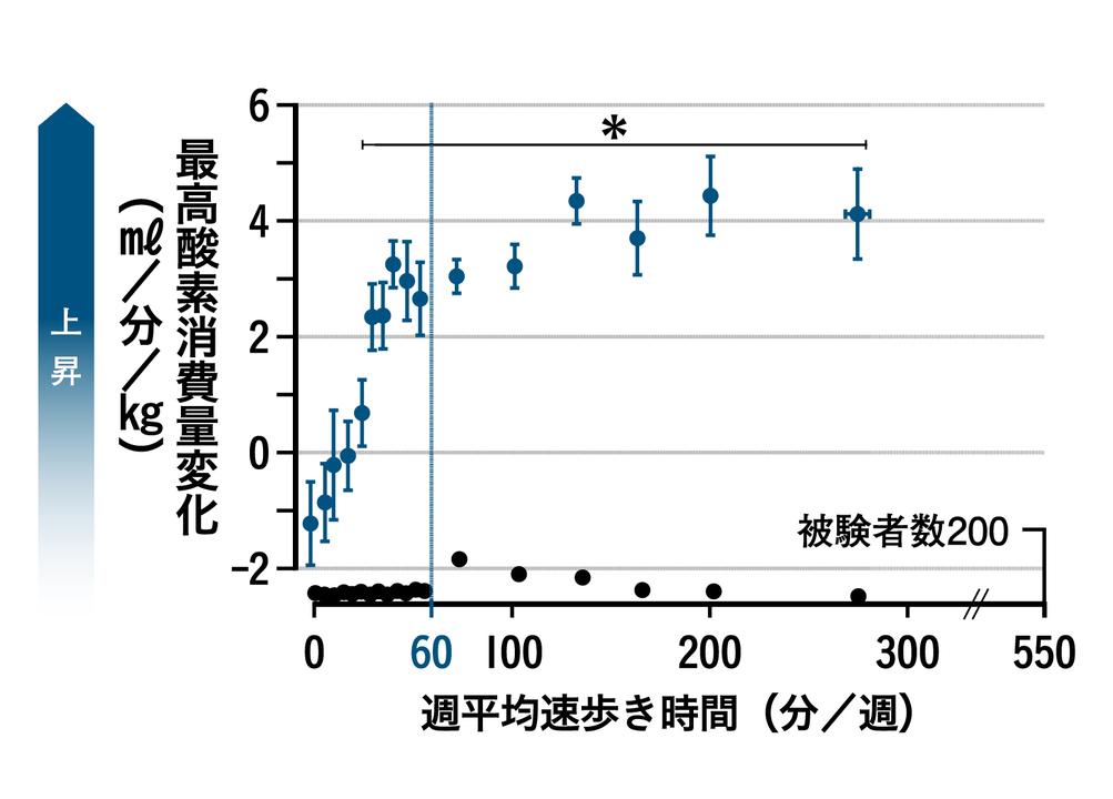 中高年者にインターバル速歩を5か月間実施した際のグラフ