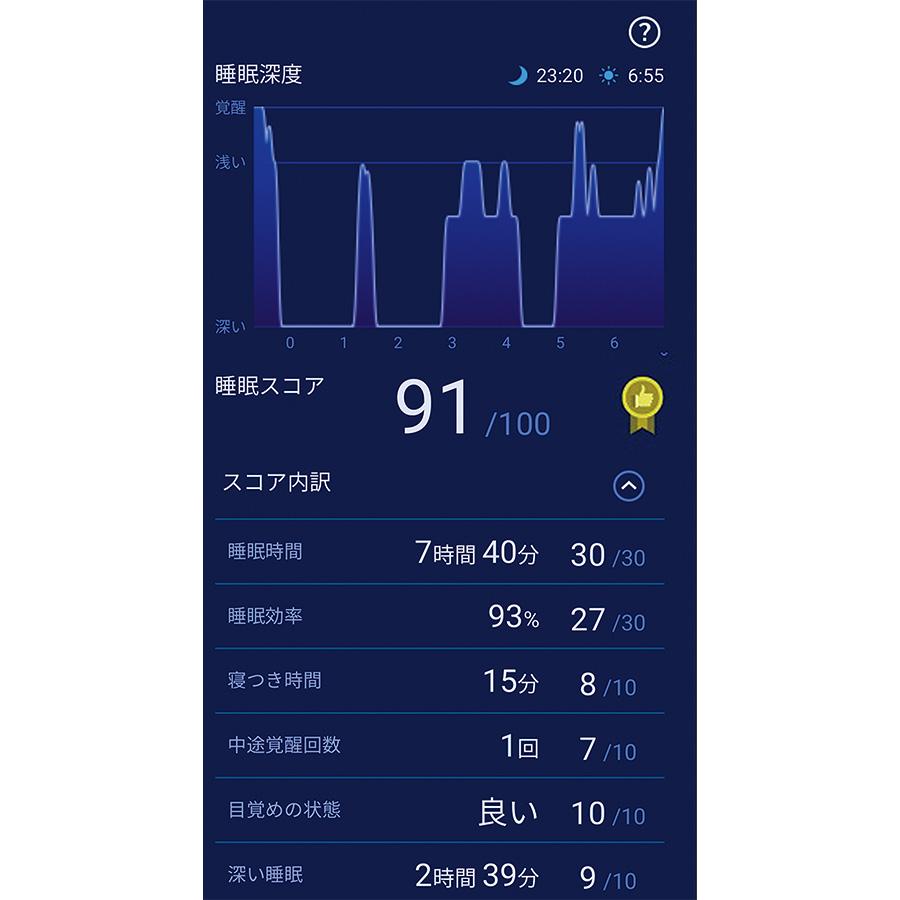 専用アプリ〈Your Sleep〉の画面